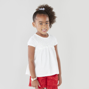 Juniors Textured Cotton Shorts with Waist Tie-up