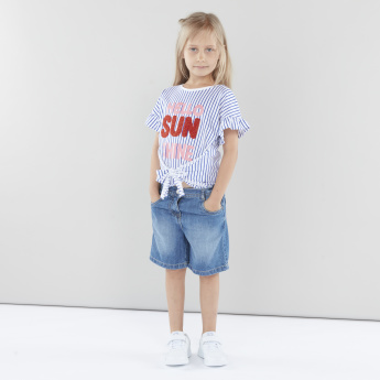 Juniors Denim Shorts with Pocket Detail