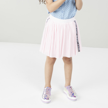 Juniors Pleated Skirt with Tape Detail
