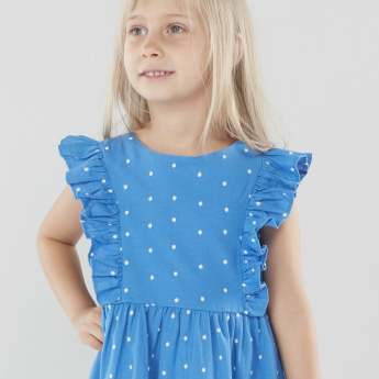 Juniors Printed A-line Dress with Ruffle Detail
