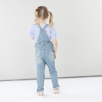 Juniors Denim Dungarees with Pocket Detail