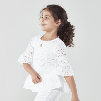 Juniors Schiffli Peplum Top with 3/4 Sleeves