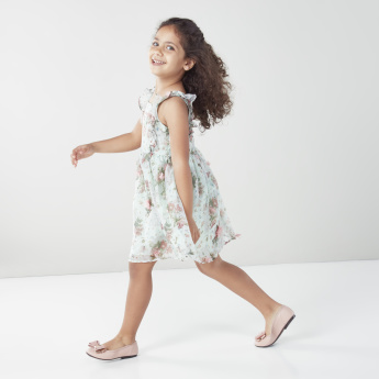 Juniors Floral Printed Dress with Boat Neck and Frill Detail