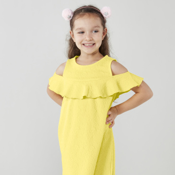 Juniors Textured A-line Cold Shoulder Dress