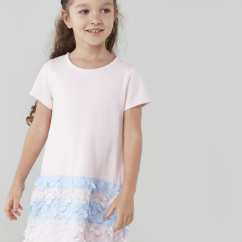 Juniors Round Neck Dress with Short Sleeves and Applique Detail