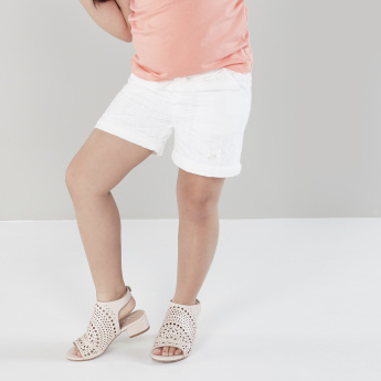 Eligo Solid Embroidered Shorts with Elasticated Waistband