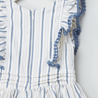 Eligo Striped Pom-Pom Detail Dress