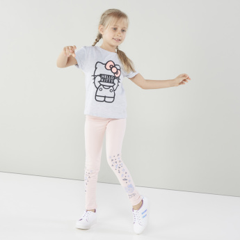 Hello Kitty Graphic Printed T-shirt with Round Neck and Short Sleeves