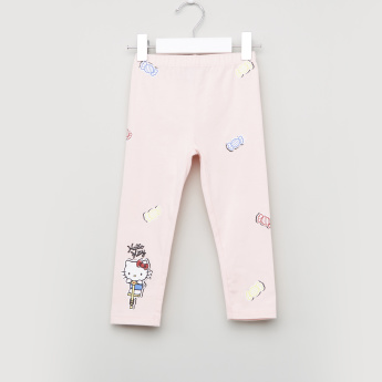 Hello Kitty Printed Leggings with Elasticised Waistband - Set of 2