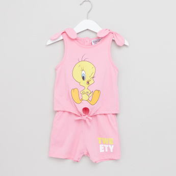 Tweety Printed Sleeveless Romper