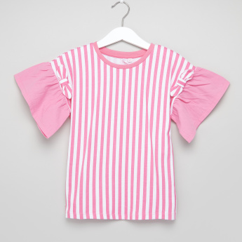 Juniors Striped Flared Sleeves Top