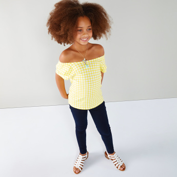 61e74655de2 Juniors Chequered Off Shoulder Top | Yellow | T-Shirt