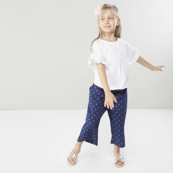 Juniors Printed Culottes with Belt