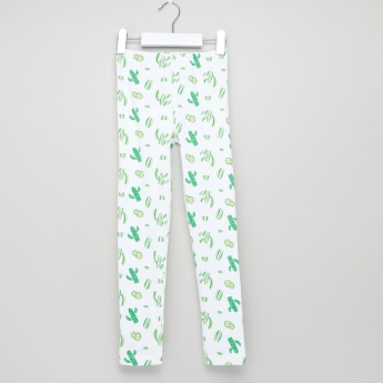 Juniors Cactus Printed Leggings with Elasticised Waistband