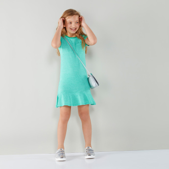 Juniors Short Sleeves Pocket Detail Dress