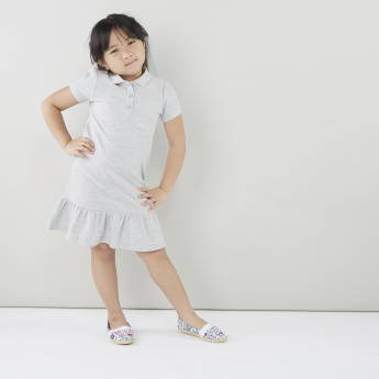 Juniors Solid Dress with Polo Neck and Short Sleeves