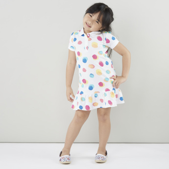 Juniors Polka Dot Printed Dress with Polo Neck