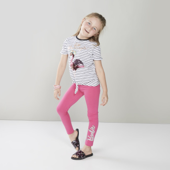 Juniors Striped T-shirt with Sequin Detail Flamingo and Front Knot