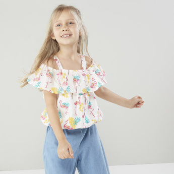 Juniors Flamingo Printed Cold Shoulder Top