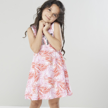 Juniors Printed Sleeveless Dress with Sequin Detail