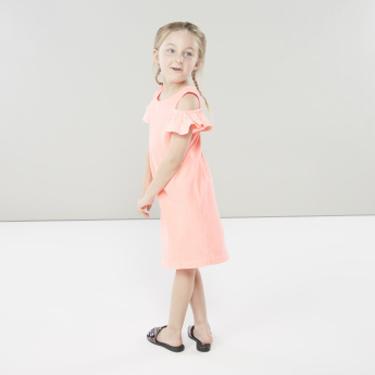 Juniors Shift Dress with Striped Cold-Shoulder Sleeves