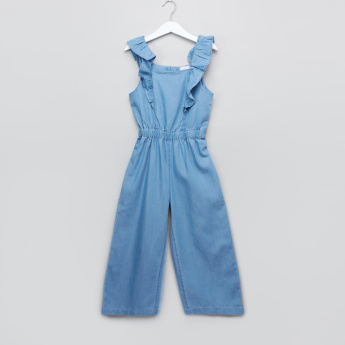 Juniors Ruffle Detail Jumpsuit with Short Sleeves T-Shirt