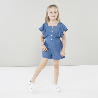 Juniors Playsuit with Ruffled Sleeves