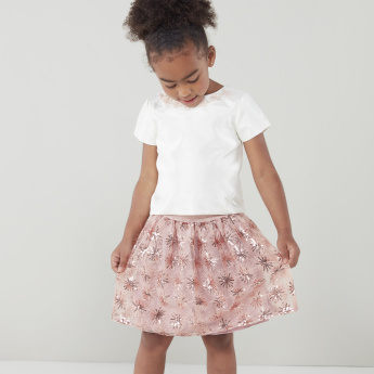 Juniors Sequin Detail Skirt with Elasticised Waistband