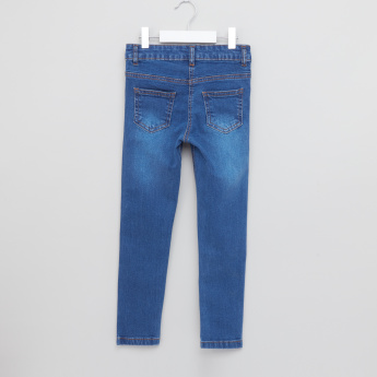 Juniors Floral Embroidered Jeans with Pocket Detail