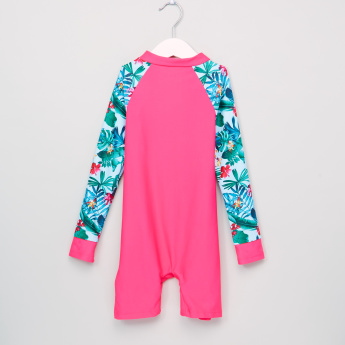 Juniors Floral Printed Raglan Sleeves Swimsuit