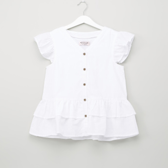 Posh V-Neck Shirt with Ruffled Hems