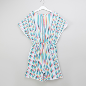 Posh Striped Short Sleeves Playsuit