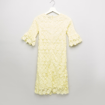 Posh Clothing Round Neck Lace Dress with 3/4 Flared Sleeves
