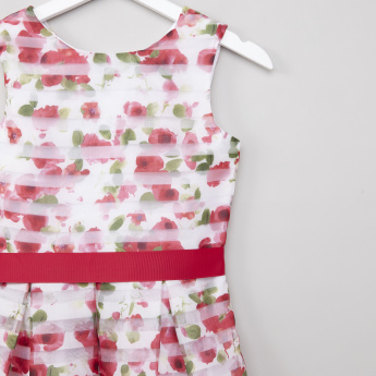 Posh Floral Printed Sleeveless Dress with Bow Detail