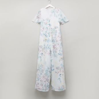 Posh Floral Printed Jumpsuit with Zip Closure