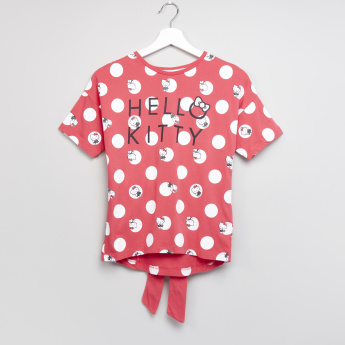 Hello Kitty Printed Round Neck Short Sleeves T-Shirt