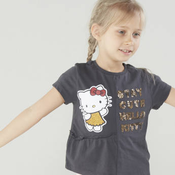 Sanrio Panel Sequinned Hello Kitty T-Shirt with Short Sleeves