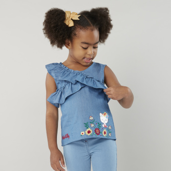 Hello Kitty Embroidered Top with Ruffle Detail