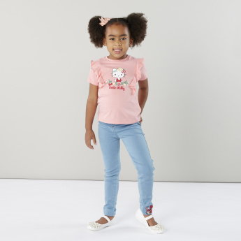 Hello Kitty Embroidered Jeans with Pocket Detail