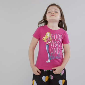 Mattel Barbie Graphic Printed T-shirt with Short Sleeves