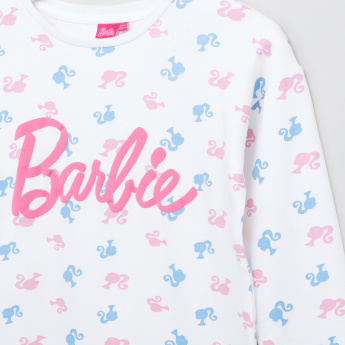 Barbie Printed Round Neck Long Sleeves Dress