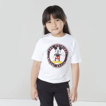 Mickey Mouse Printed T-shirt with Round Neck and Drop Shoulder Sleeves