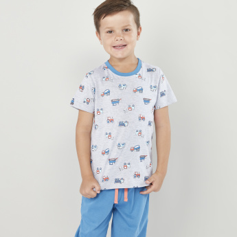 Juniors Printed T-shirt with Drawstring Jog Pants - Set of 2