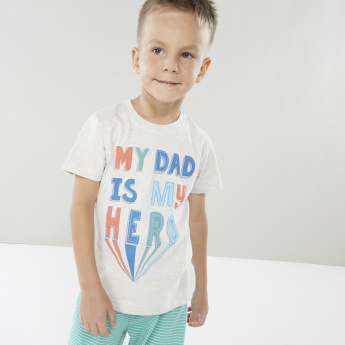 Juniors Graphic Printed T-shirt and Striped Pyjamas Set