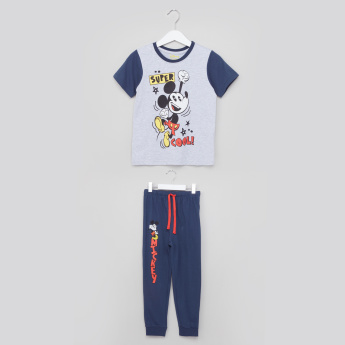 Mickey Mouse Printed T-Shirt with Jog Pants