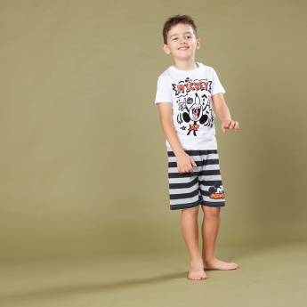 Mickey Mouse Printed T-Shirt with Striped Shorts