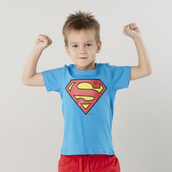Superman Printed T-shirt with Shorts