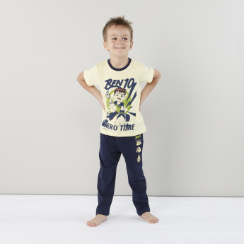 Ben 10 Printed Round Neck T-shirt and Pyjama Set