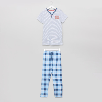 Juniors Striped T-Shirt and Chequered Pyjama Set