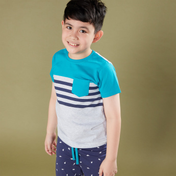 Juniors Striped T-Shirt with Printed Jog Pants